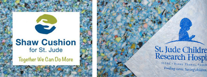 Shaw Floors donated a minimum ob 2.5% for price of St. Jude Hope carpet pad.